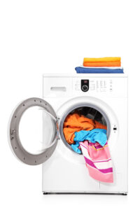 Washing machine with towels